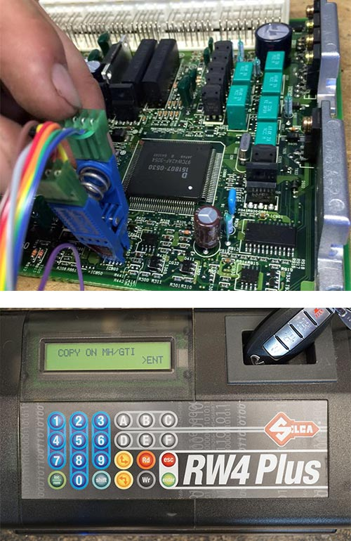 image of a car computer being reprogrammed (top) and an automotive key fob being programmed (bottom)