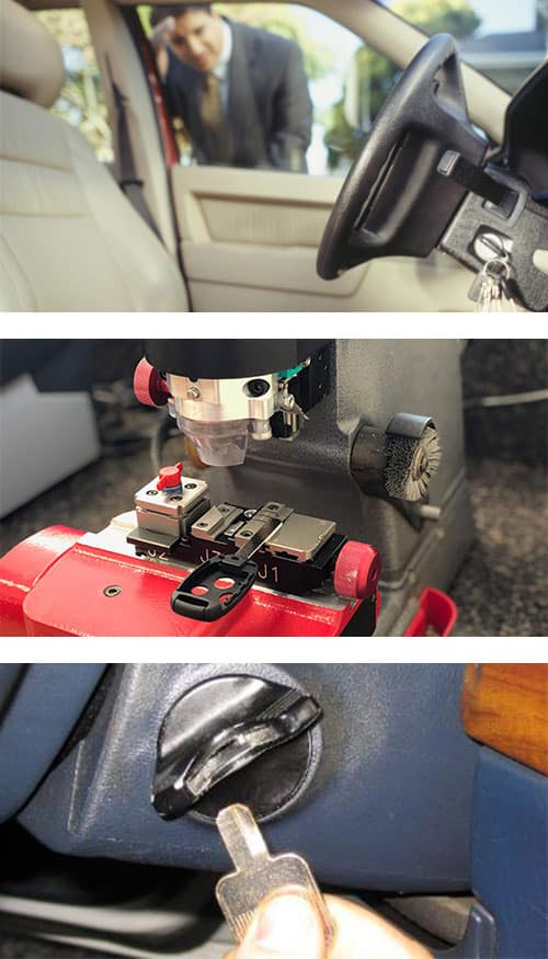 image of a man looking at the keys he locked in his car ignition (top), an auto key being cut with a laser cutter (middle), and a car key broken off in the ignition lock (bottom).