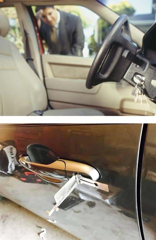 image of a man looking at the keys he accidentally locked in his car (top) and professional lockpick tools being used on a car door (bottom).