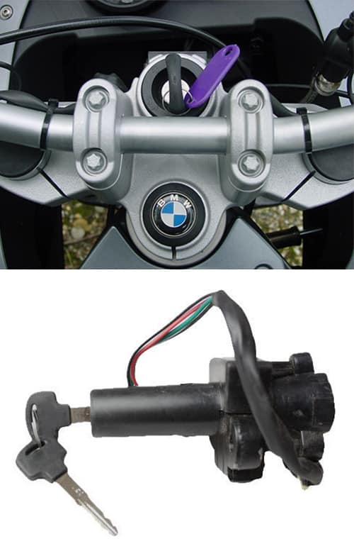 image of a BMW motorcycle key in the ignition (top) and a motorcycle ignition of the type we can repair and replace (bottom).
